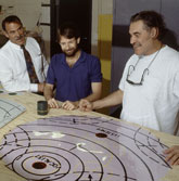 Keith Sonnier viewing a prototype of Tympana with Eric Vontillius, Alan Eaker